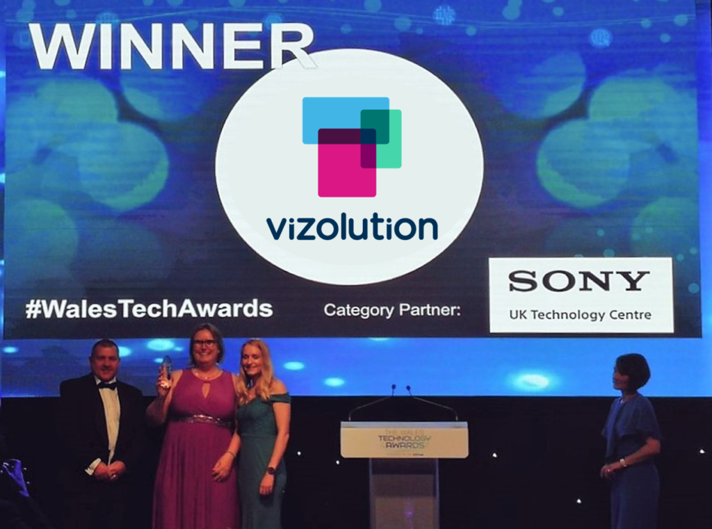 Marianne Berkman and Rebecca Evans pick up the Best Application of Tech award at the Wales Technology Awards.