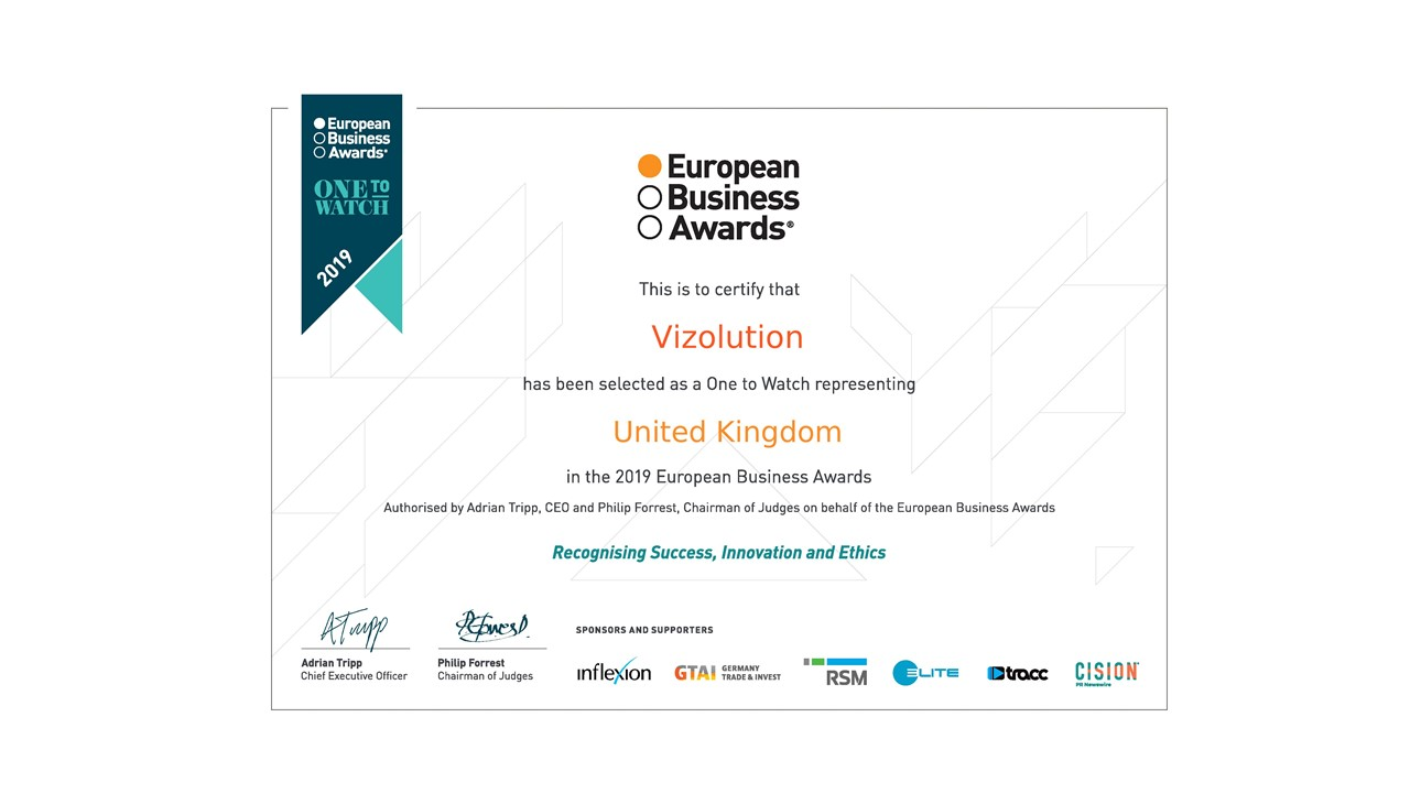 Vizolution Named as 'One to Watch' by European Business Awards